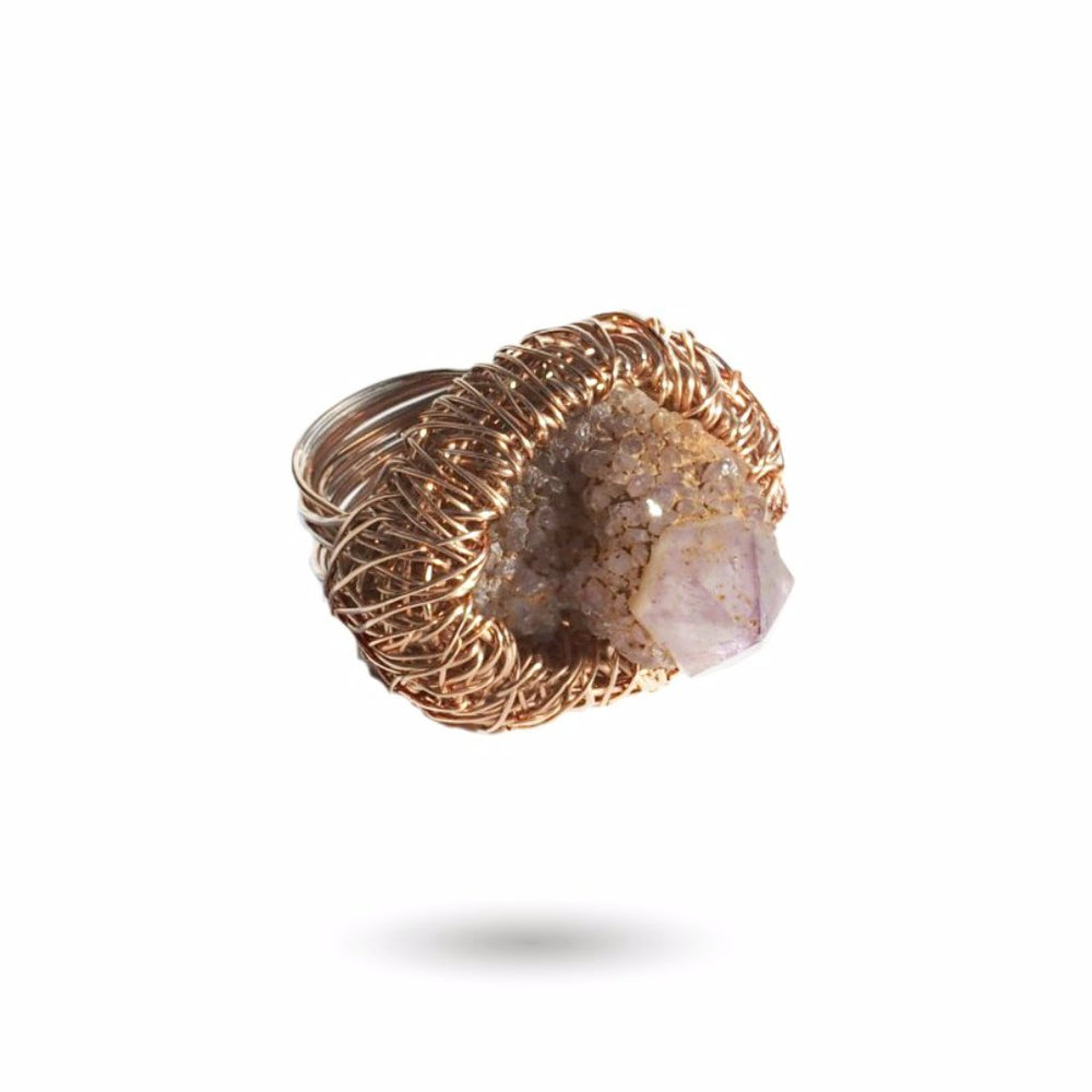 Rose gold ring with a spirit Quartz stone, from Conversation piece collection by Sheila Westera