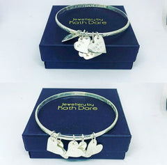 Bangles with heart charms