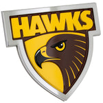Fan Emblems Hawthorn Hawks 3D Chrome AFL Supporter Badge