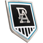 Fan Emblems Port Adelaide Car Badge • 3D Chrome Logo for Cars, Laptops, Most Smooth Surfaces • 80.7 x 59.7 x 5mm • Officially Licensed AFL Accessories, Gifts, Merchandise
