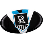 Fan Emblems Port Adelaide Lensed Oval Car Decal • Clear Resin Coated Auto Sticker for Cars, Laptops, Most Smooth Surfaces • 43 x 72 x 2mm • Officially Licensed AFL Accessories, Gifts, Merchandise