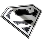 Fan Emblems Superman Domed Chrome Car Decal - Classic Logo (Black and Chrome)