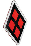 Fan Emblems Harley Quinn Logo Car Decal, Red Diamond (Lensed Chrome Finish)