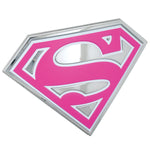 Fan Emblems Supergirl Car Badge, 3D Symbol (Chrome, Pink, White)