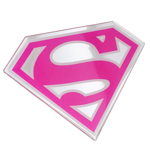 Supergirl Automotive Decal, Domed Lensed Emblem Sticker (Chrome, Pink, White)