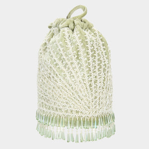 Anaya Radial Cutdana Bucket Bag - Mint Green