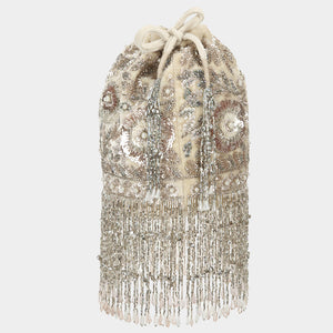 Chamkara Embellished Bucket Bag - Ivory