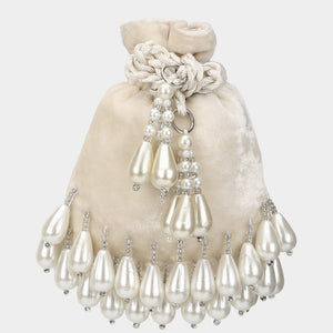 Mini Oyster Pearl Potli - Ivory -Coin Bag