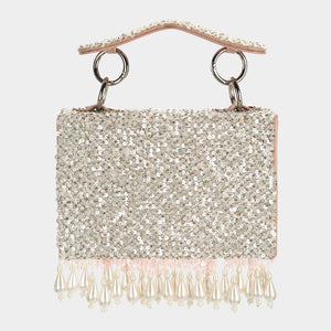 Pearl Drop Sequins Mini Bag - Blush & Silver