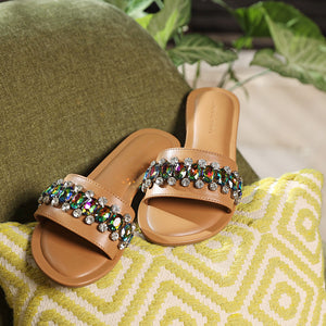 Amoli Crystal Sliders- Brown