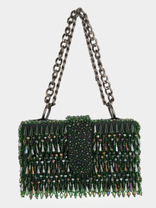 CRYSTAL ELITAIRE BOX BAG - EMERALD GREEN