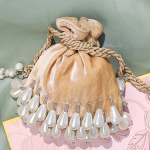 Mini Oyster Pearl Potli - Beige -Coin Bag