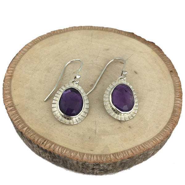 Rose cut amethyst earrings