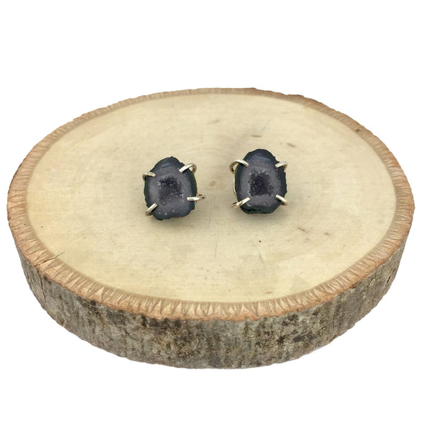 blue geode stud earrings