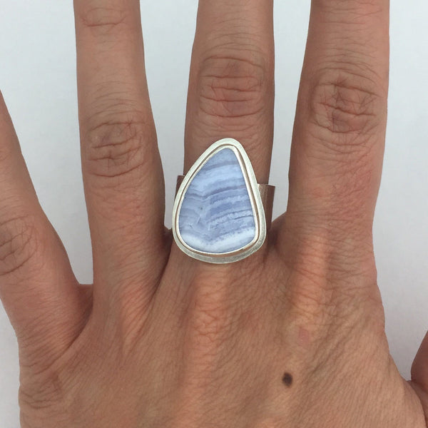 wide band blue lace agate ring
