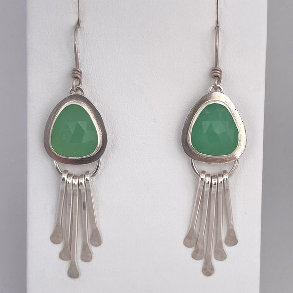 rose cut chrysoprase fringe earrings