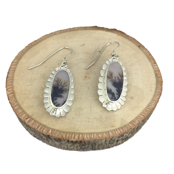 dendritic agate earrings