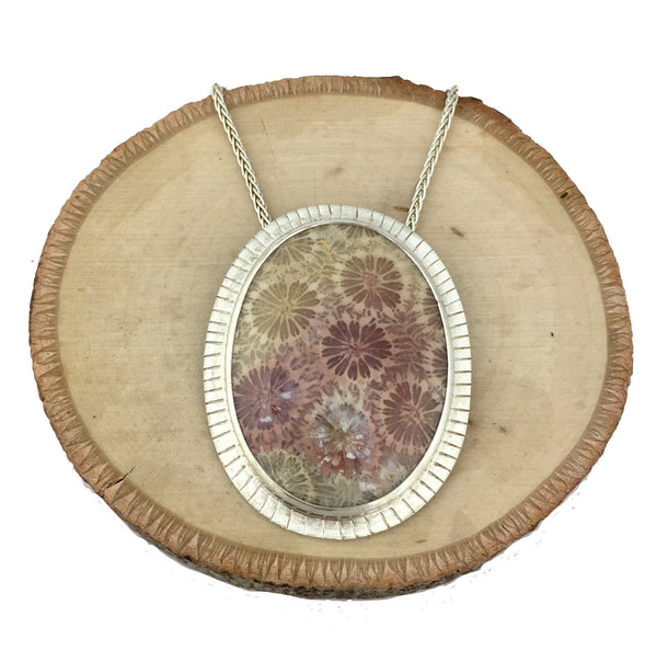 pastel fossil coral necklace