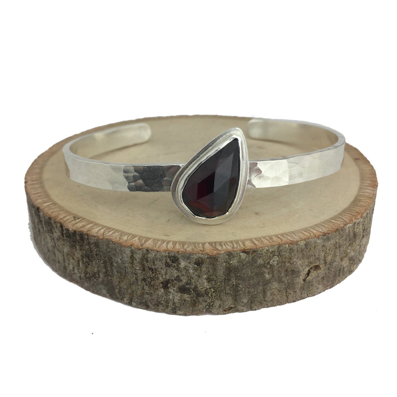 hammered cuff with garnet