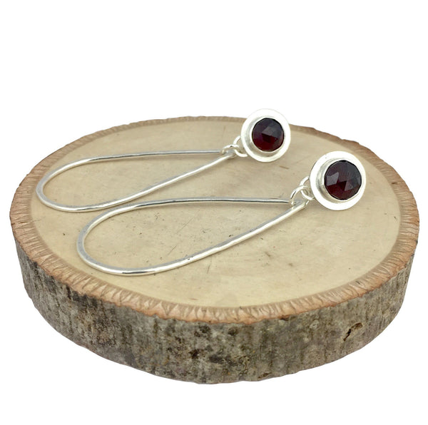 garnet earrings with teardrop hoop