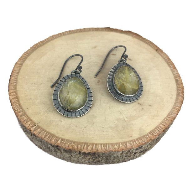 oxidized rutilated quartz earrings