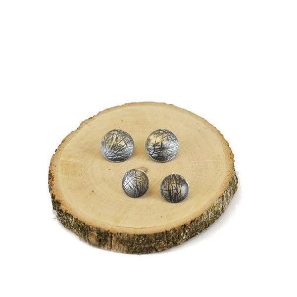 Oxidized sterling silver button earrings