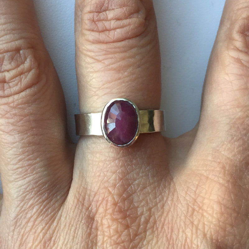 ruby ring with hammered silver band