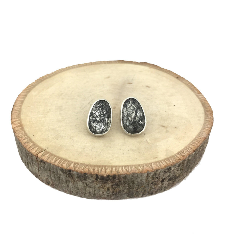 rutilated quartz stud earrings