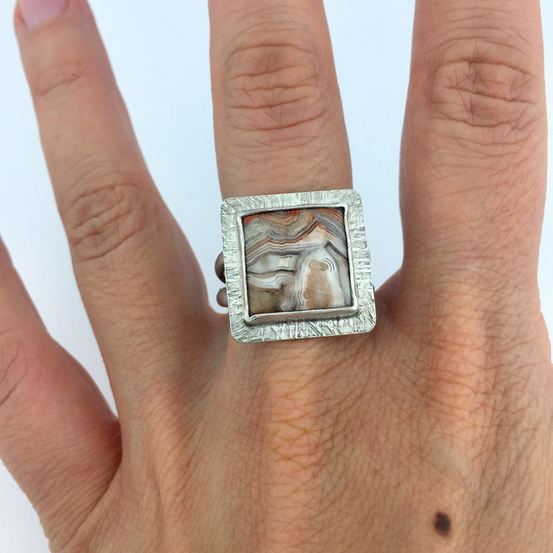 sterling silver square crazy lace agate ring