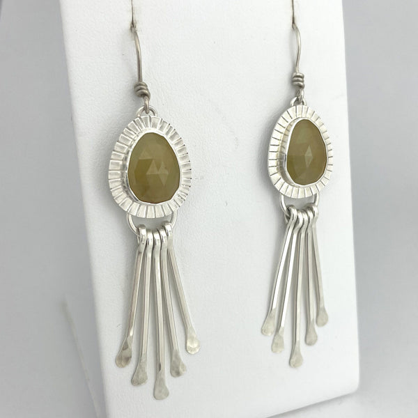 sterling silver yellow sapphire fringe earrings