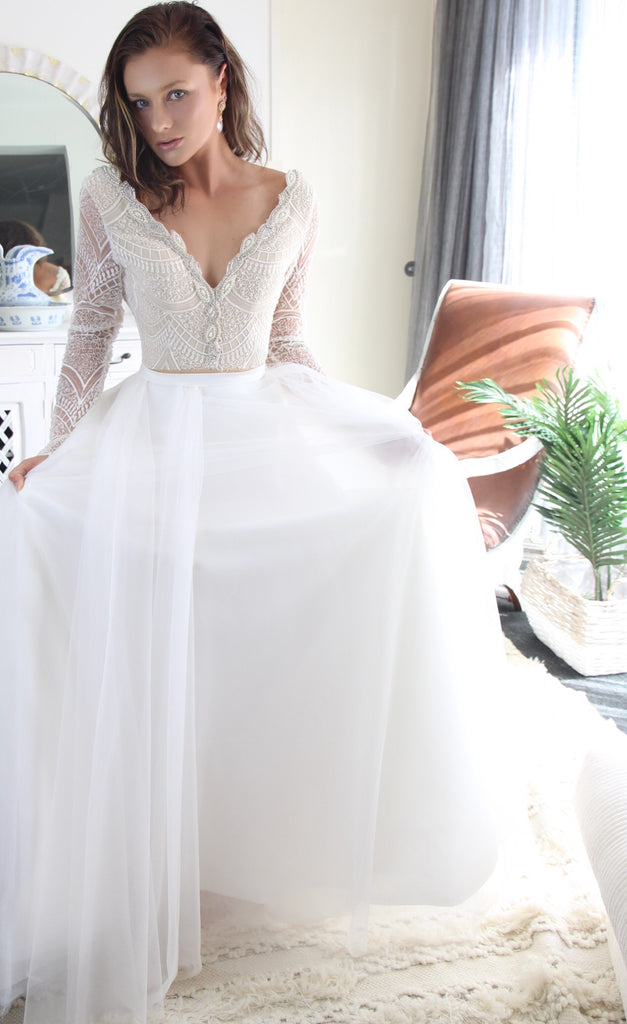 bridal gown body suit tulle skirt with split