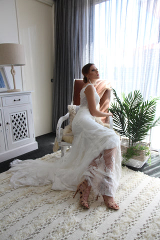 Coastal Chic Bride with Lace Gown and Tan block heeled wedding shoe