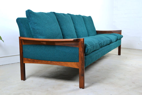 Danish 3 seater rosewood sofa by Hans Olsen Denmark c1960s fully restored, Edwin Fox Furniture Melbourne furniture sales and restoration service,