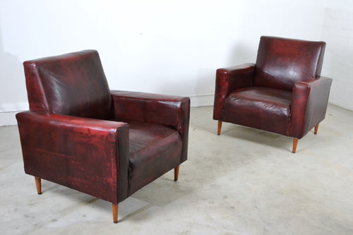 Pair of mid century Club Armchairs in original red leather, Edwin Fox Furniture Melbourne furniture sales and restoration service,