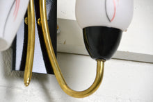 Load image into Gallery viewer, Pair of Mid Century brass / glass Italian double Wall Sconces