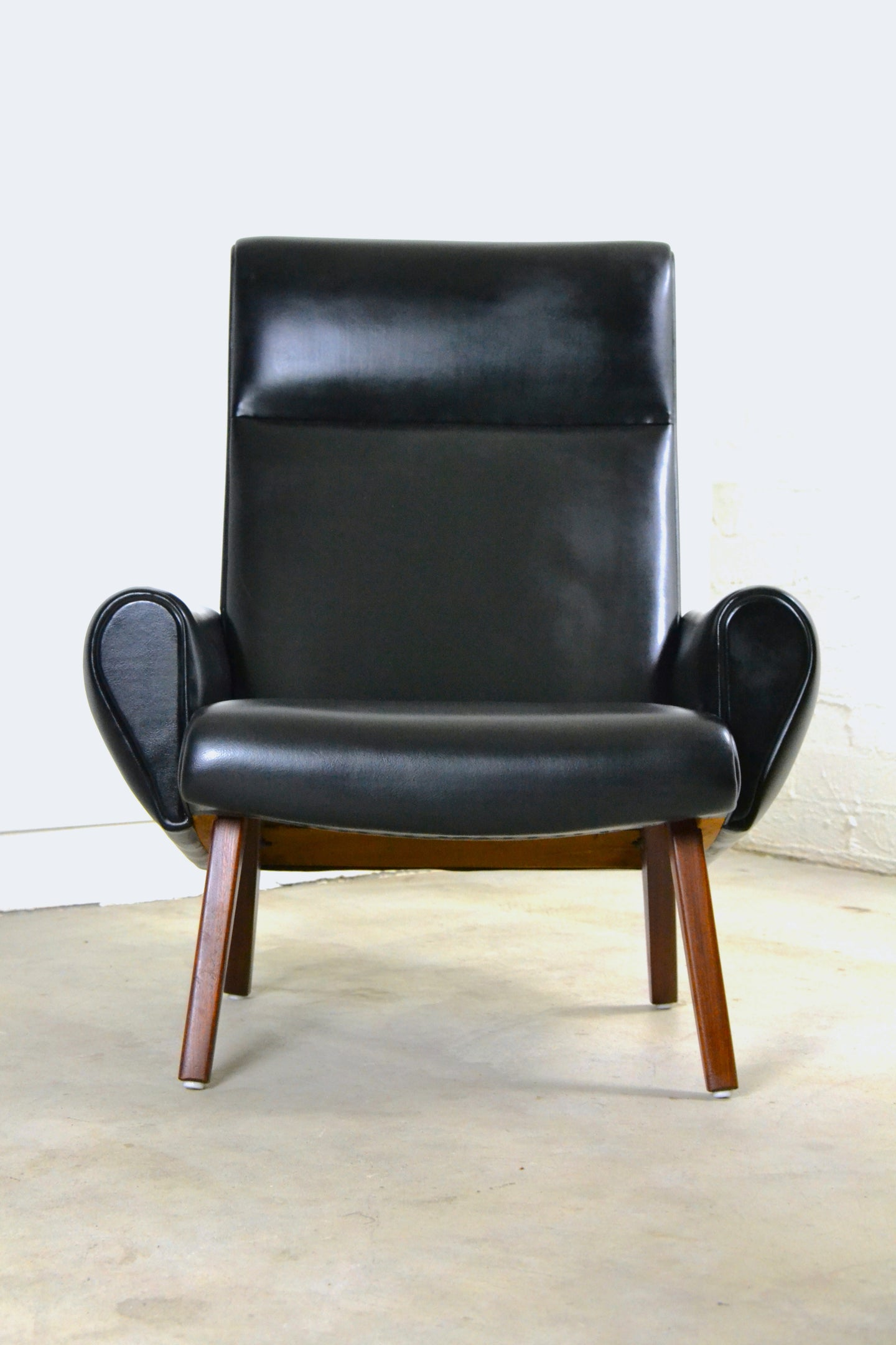 Danish 1960s Armchair - Leatherette & Rosewood, Illum Wikkelso for Soren Willadsen, Denmark, Edwin Fox Furniture Melbourne furniture sales and restoration service,