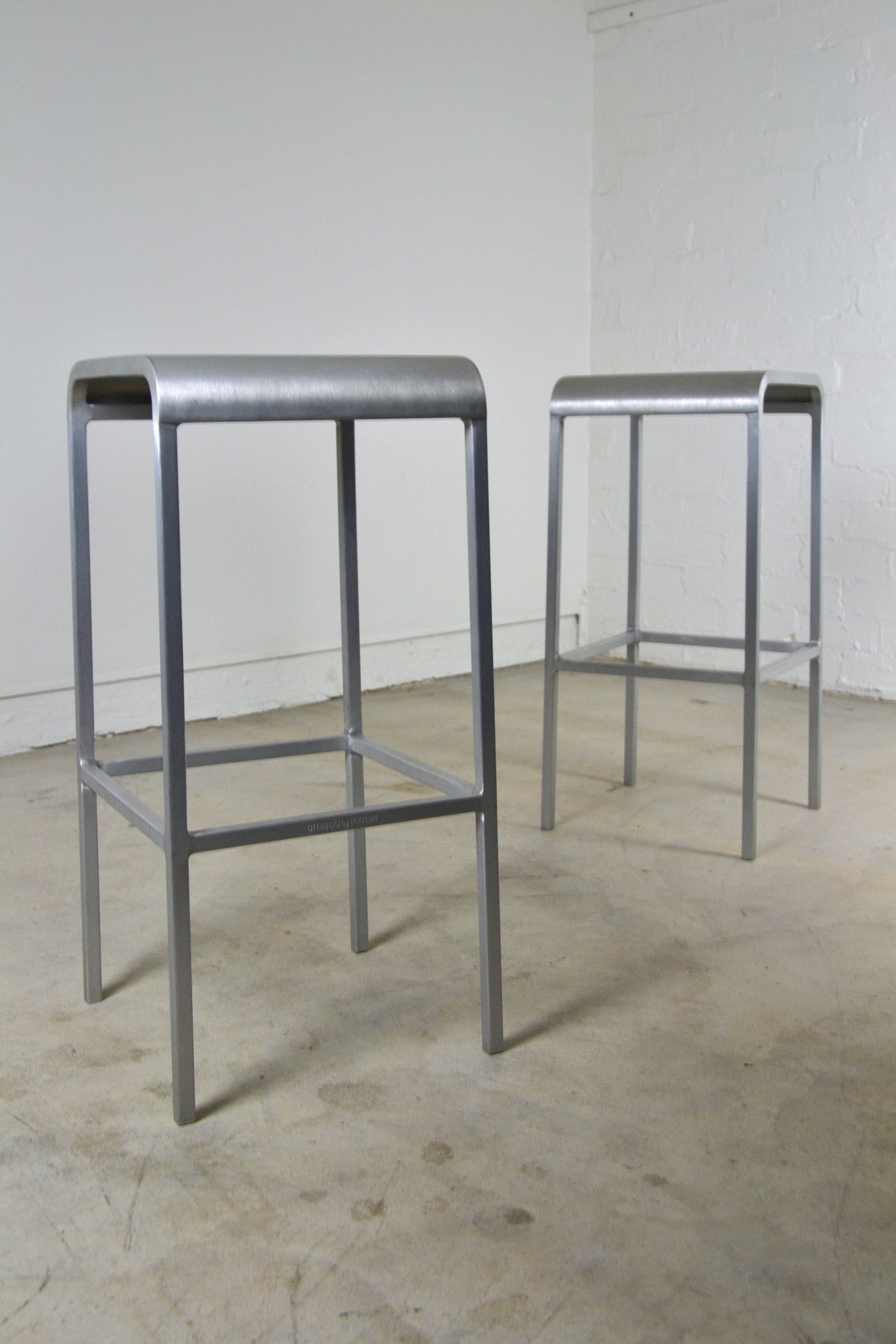 Pair Emeco Bar stools Brushed Aluminium USA c2006 By Norman Foster, Edwin Fox Furniture Melbourne furniture sales and restoration service,
