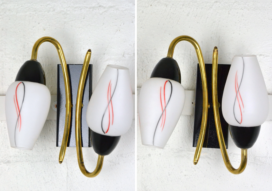 Pair of fine quality Mid Century Italian double Wall-Sconces C,1950s Italy edwin fox furniture