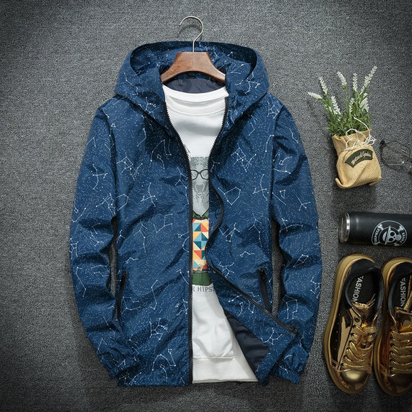 Spring Autumn Fashion Hip Hop Jacket Men's Hooded Casual Jackets Male Coat Thin Men Coat Outwear Jacket Men Windbreaker Printed