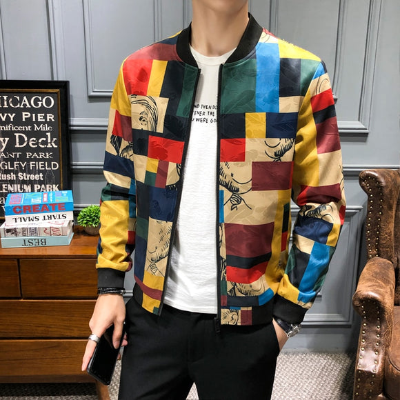 Plus size M-5XL Vintage Jacket Men Floral Bomber Jacket Men Patchwork Lattice Long Sleeve Zipper Jackets Coat Men's Pilot Jacket