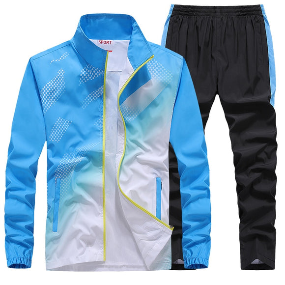 Men's Sportswear New Spring Autumn 2 Piece Sets Man Sports Suit Jacket+Pant Sweatsuit Male Fashion Print Tracksuit Size L-5XL