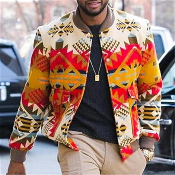 Men Chic Ethnic Style Outerwear Autumn Men Jackets 2020 Printed Long Sleeve Streetwear Casual  Coats Men's Jackets Round Neck