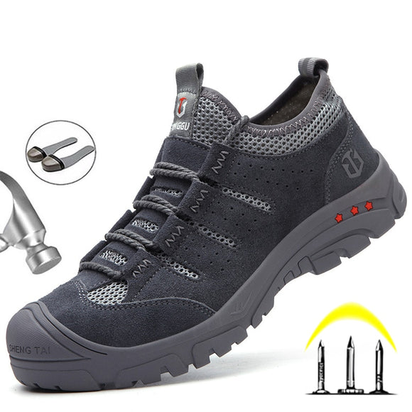 New Men's Safey Shoes Work Boots Men Steel Toe Safety Boots Work Shoes Indestructible Sneakers Puncture-Proof Men's Boots Safety