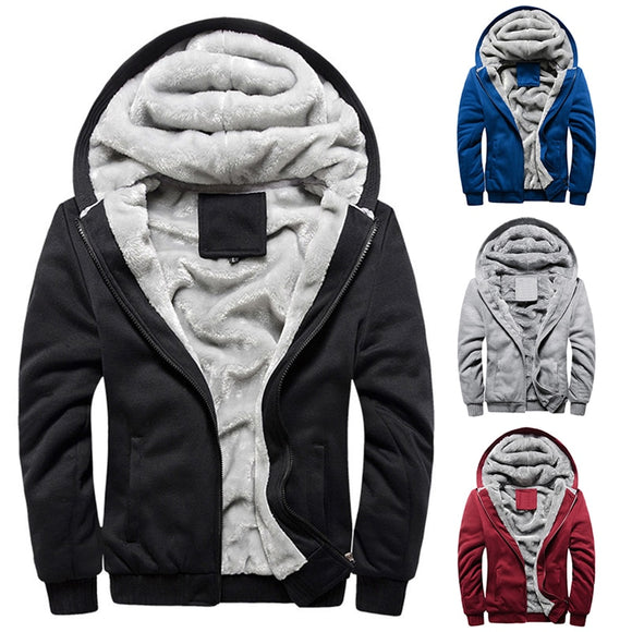 2020 New Sports Plus Velvet Padded Men's Jacket Casual Solid Color Tops Men's Warm Coat For Men Autumn Winter Male Clothes