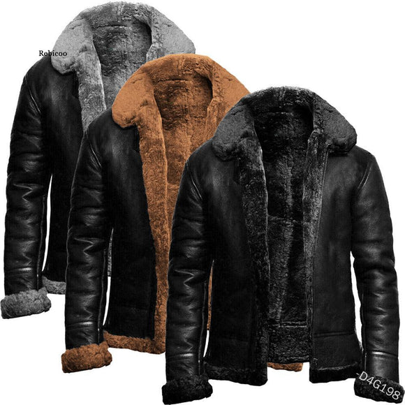 Winter Mens Pu Jacket Faux Fur Collar Coats Thick Warm Men's Motorcycle Jacket New Fashion Windproof Leather Coat Male