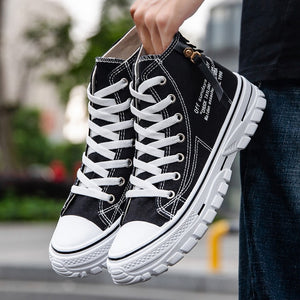Mens Casual High-top Shoes Fashion Men Tennis Blue Black Breathable Canvas Sneakers Male Trainers Skateboard Trend Tides Shoes