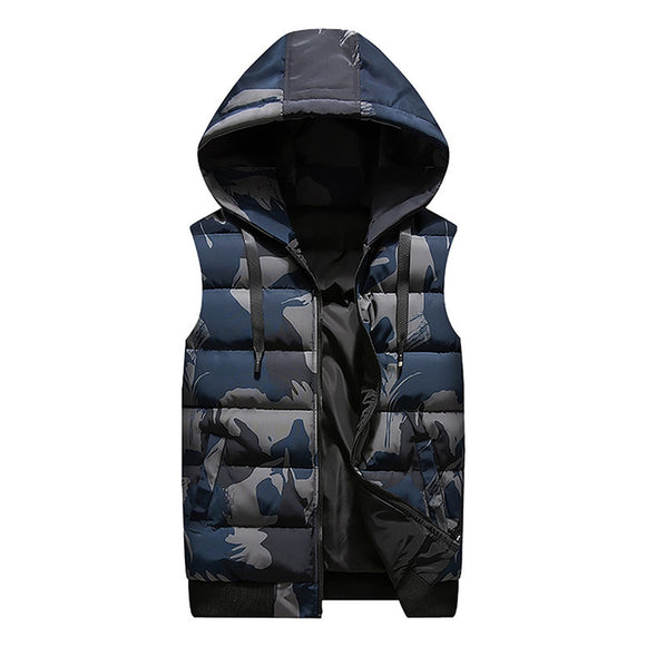 New Winter Reversible Hooded Sleeveless Jackets Stylish Camouflage Men's Vest Plus Size 4XL Double Side Windproof Warm Waistcoat