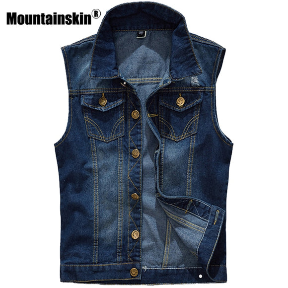 Mountainskin 5XL Denim Vest Men's Jacket Sleeveless Casual Waistcoat Men's Jean Coat Ripped Slim Fit Male Jacket Cowboy SA328