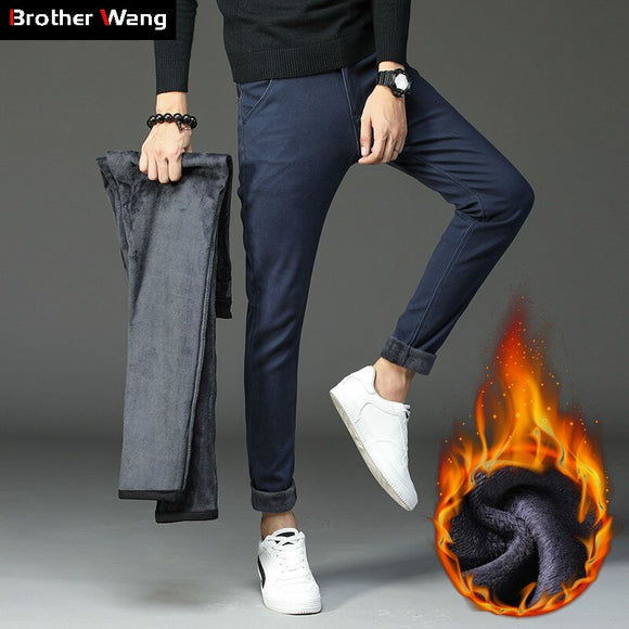 2019 Winter New Men's Warm Casual Pants Business Fashion Slim Fit Stretch Thicken Trousers Male Brand Khaki Navy Gray Pants