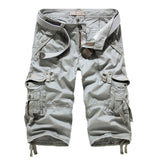 Summer Cargo Shorts Men Casual Workout Military Men's Shorts Multi-pocket Calf-length Short Pants Men ( Belt is not included )